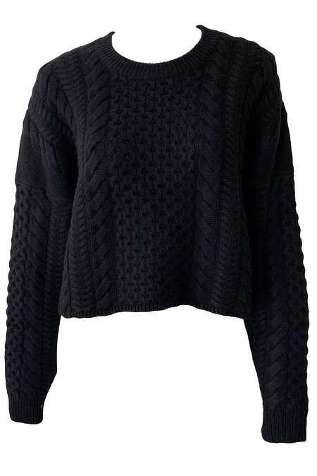Naadam Wool Cashmere Cable Sweater - Black