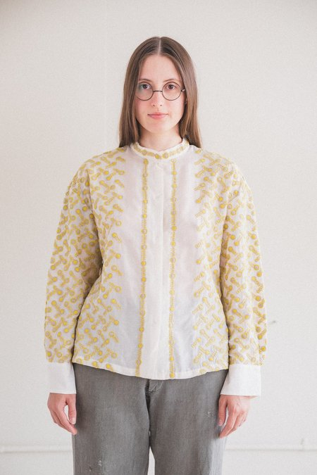Antipast EMBROIDERY FABRIC BLOUSE - Cream