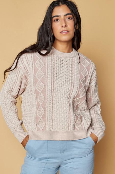 Back Beat Co. Organic Cotton Fisherman Sweater - Rose