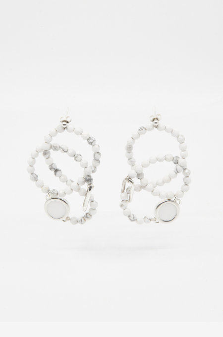 A. Carnevale WIRE BEADED EARRINGS - WHITE
