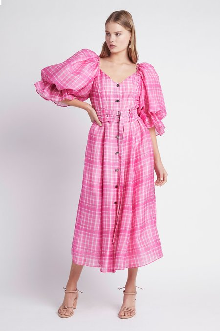 Aje Bungalow Puff Sleeve Dress - pink check