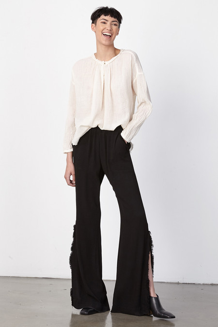 Raquel Allegra BLACK CREPE SPLIT BELL BOTTOM