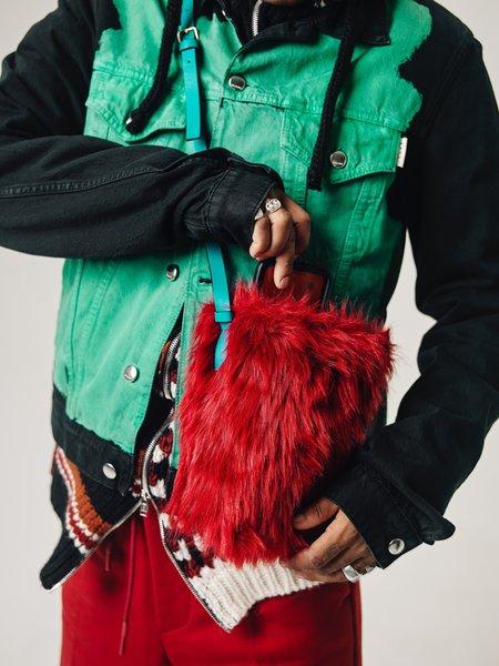 Marni  Teddy Fur & Calf Leather Museo Shoulder Bag - Red