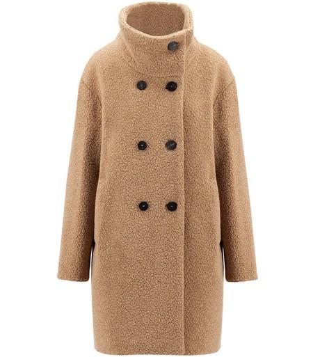 Harris Wharf London Funnel Collar Coat Bouclé - Tan