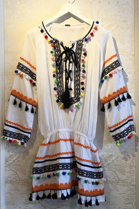 Dodo Bar Or 'Yehorat' Mini Dress with Fringe and Multicolor Detail