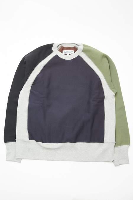 Engineered Garments Workaday Combo Raglan Crewneck - Navy