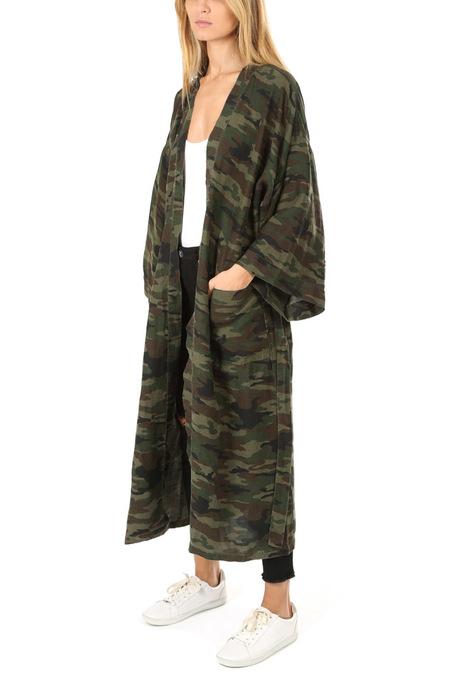 NSF Hannah Long Kimono Jacket - Deep Olive Camo