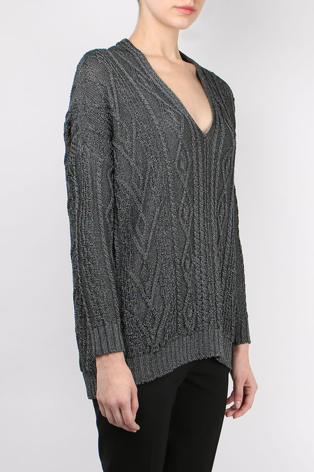 Terre Alte Metallic Cable Knit Sweater