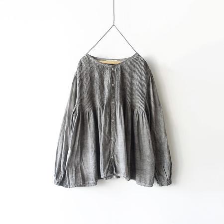 ICHI ANTIQUITES Hand Dye Khadi Cotton Pin Tuck Flare Shirt - sumi