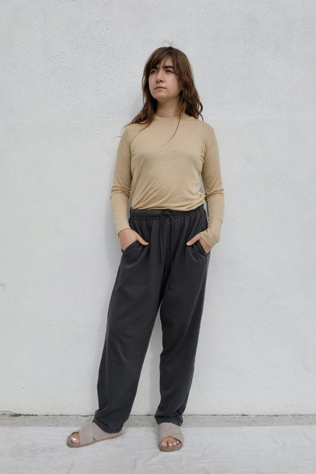 Black Crane Cotton Terry Easy Pant - Asphalt