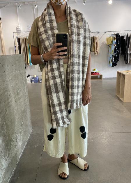 Lauren Manoogian Handwoven Buffalo Wrap - Wood/Raw White