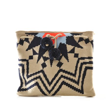 Sophie Anderson Natural and Navy Lia Clutch  by Sophie Anderson