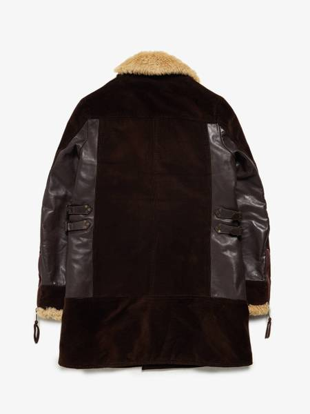PRE-LOVED Dsquared2 Male Coat Leather Detailed Fur Collar Cotton Coat - Brown