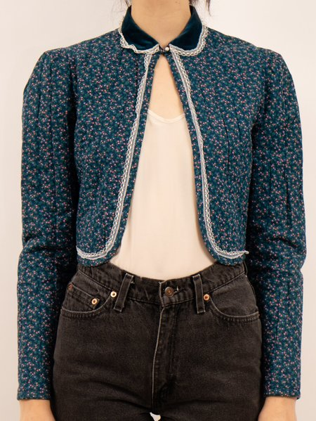 Vintage 1970's/1980's quilted floral bolero cropped JACKET - navy/pink flowers