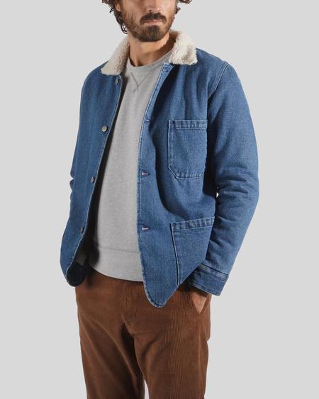 Portuguese Flannel Labura Denim Sherpa Jacket - blue