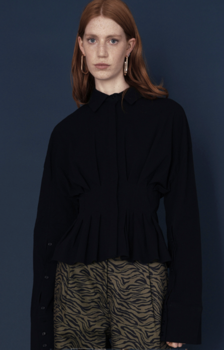 Ghospell Charcoal Fit Flare Shirt - BLACK