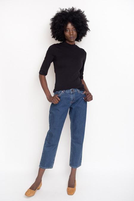 Just Female Pop Neck Blouse / Black