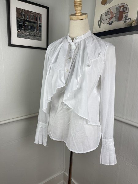 [PRE-LOVED] Robert Rodriguez Ruffle Front Blouse (6/M)-White