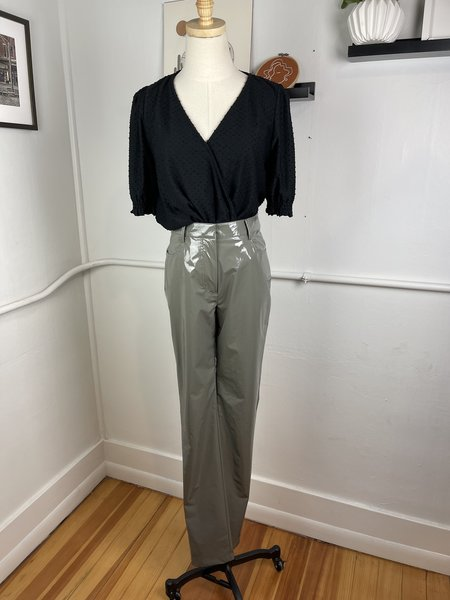 [Pre-Loved] TIBI Patent Faux Leather Pants - Grey