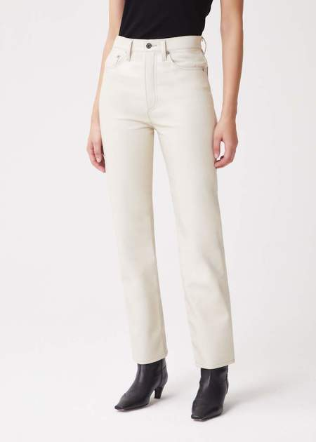 Agolde Recycled Leather 90's Pinch Waist Jeans - Powder