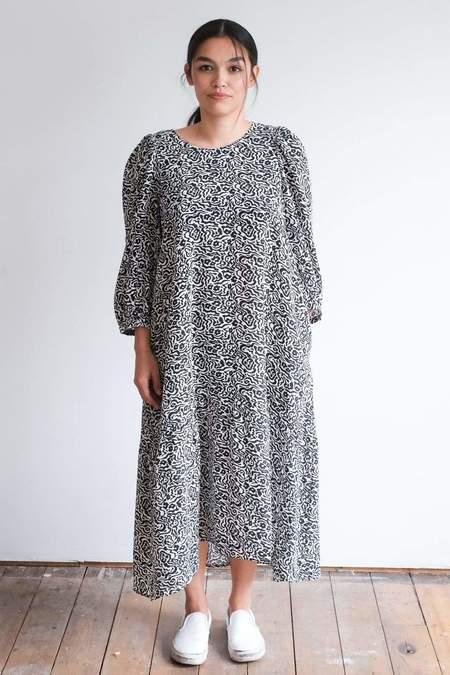 Ali Golden Peasant Dress - Black/White Print