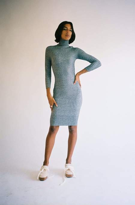giu giu Nonna Bare Back Dress -  White Noise Grey