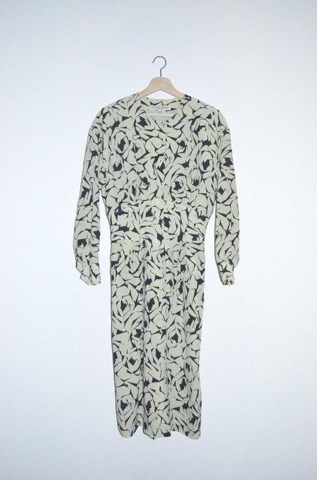 Clan of Cro VINTAGE Green Silk Print Dress