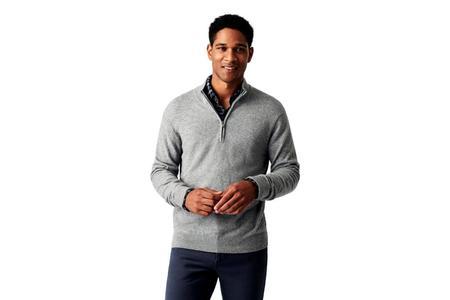 Faherty Brand Jackson 1/4 Zip Sweater - Light Grey Heather