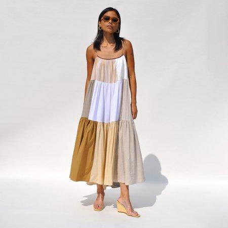 LA RÉUNION Neutral Patchwork Dress No. 39