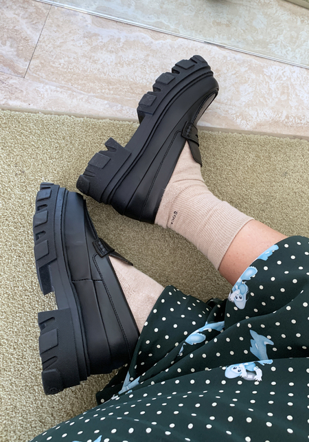 Ganni Calf Leather Platform Loafer - Black