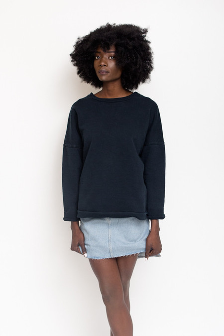Unisex Olderbrother Drop Shoulder Crewneck / Black Indigo