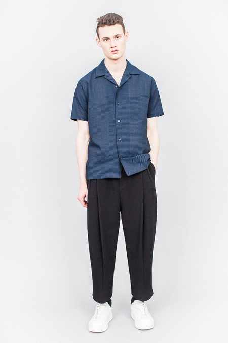 CMMN SWDN Duncan Short Sleeve Shirt Navy Stripe