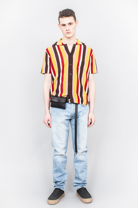 CMMN SWDN Wes Knitted Striped Shirt Multicolour