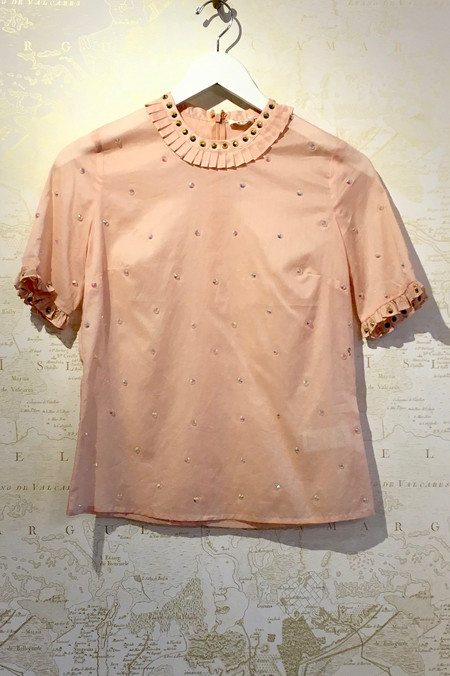 Manoush Rose Gold Studded Cotton Blouse