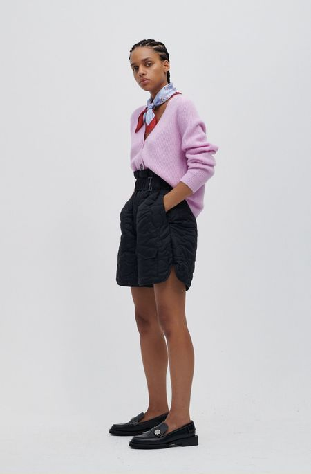 Ganni Quilted Recycled Polyester Paper Bag Shorts