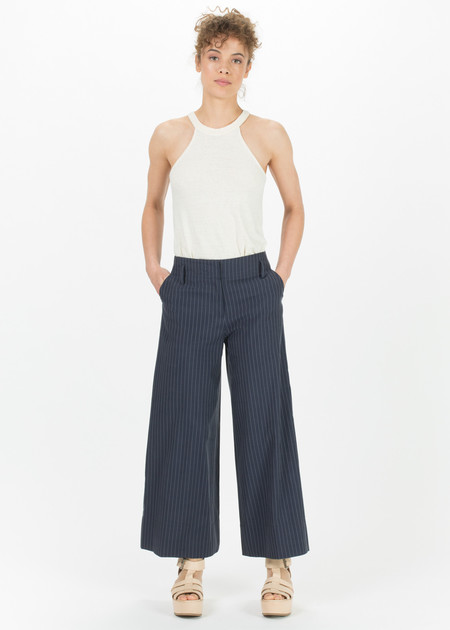 SCHAI Pinstripe A-Line Crop Pant