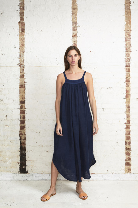 OffSeasonNYC Orbit Dress Linen Gauze Lapis