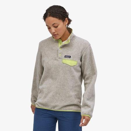Patagonia Women's Lightweight Synchilla® Snap-T® Fleece Pullover - Oatmeal Heather/Jellyfish Yellow