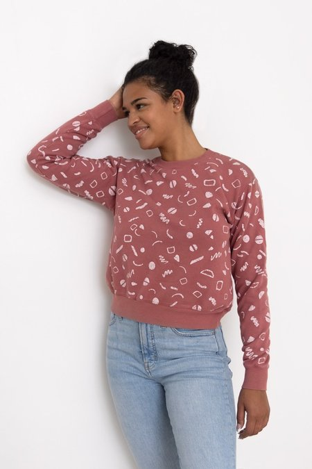 North Of West Max Organic Squiggles Print Sweatshirt - Mulberry