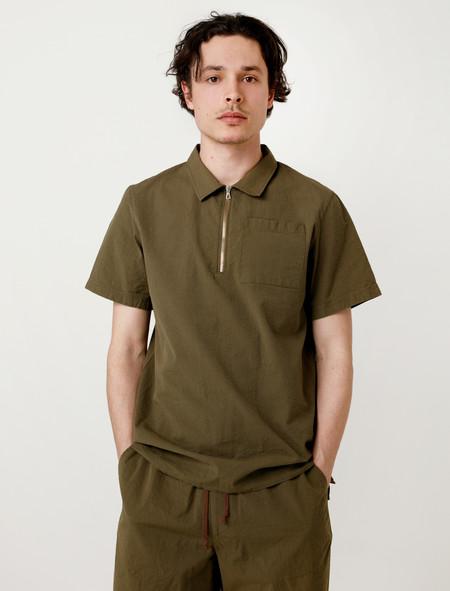 Tres Bien Homme Camp Shirt Army Green Seersucker