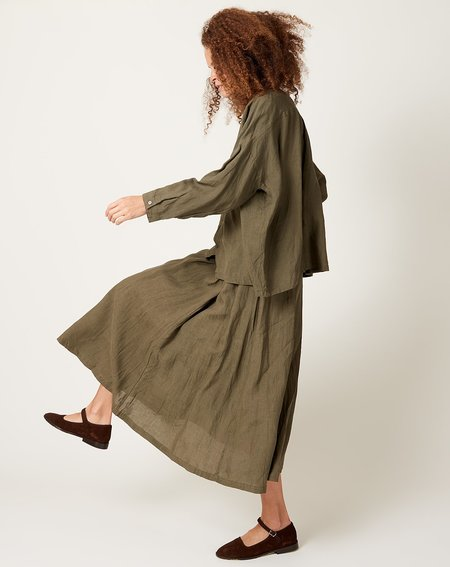 ICHI ANTIQUITES Color Linen Skirt - Khaki