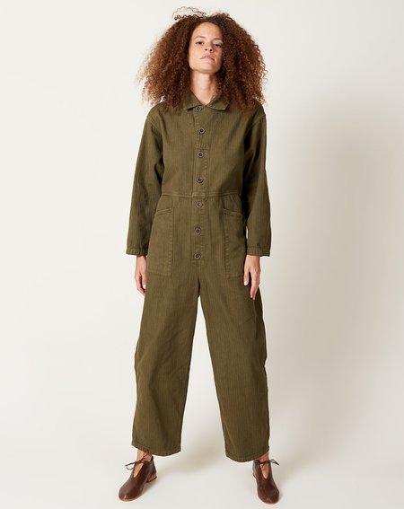 ICHI ANTIQUITES Herringbone Overdye Jumpsuit - Olive
