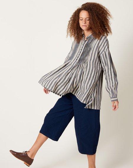 ICHI ANTIQUITES Linen Azumadaki Stripe Pullover - Beige