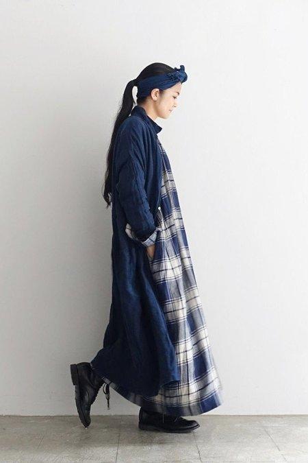 ICHI ANTIQUITES Color Linen Shirt Dress - Navy
