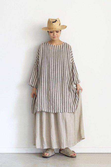 Ichi Antiquites Linen Tunic - Natural/Olive