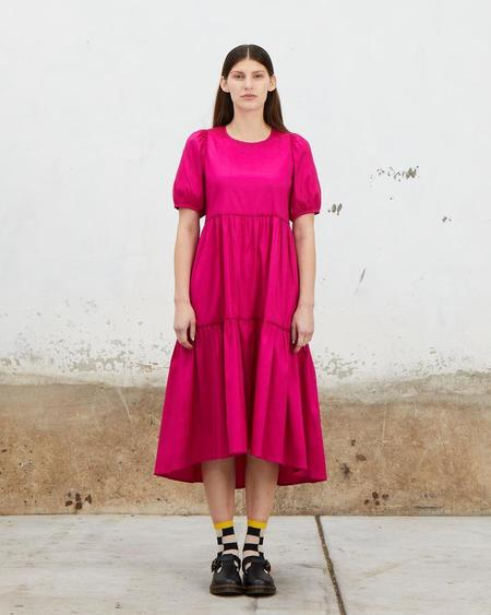 Ali Golden Stretch Ruffle Dress - Electric Pink