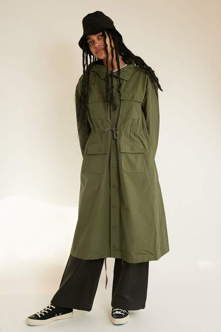 Engineered Garments Cagoule Dress - Olive Cotton Ripstop