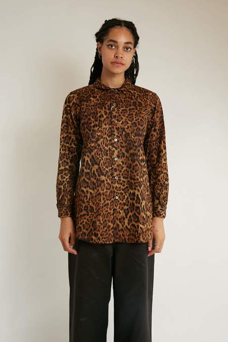 Engineered Garments Cotton Rounded Collar Shirt - Brown Leopard Print