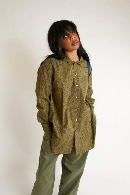 Engineered Garments Cotton Rounded Collar Shirt - Olive/Purple Paisley Print
