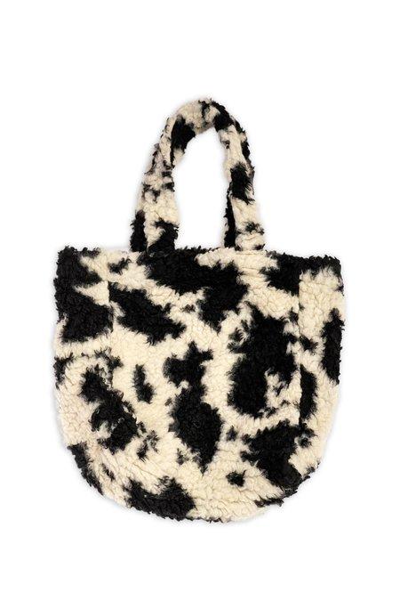 Anna Sui Faux Shearling Cowhide Tote Bag - BLACK MULTI